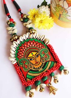 Get trendy with Handcrafted Designer pieces this Navratri Diy Fabric Jewellery, Textile Jewelry, Clay Jewelry, Jewelry Crafts, Jewelry Art, Teracotta Jewellery, Terracotta Jewellery Designs, Fabric Necklace, Diy Necklace