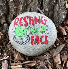 Painted Rock  Christmas  Resting Grinch Face