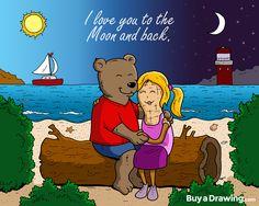 A super cute anniversary drawing I did for a couple. She calls him B-Cub (bear cub), and he calls her Peanut. #anniversary #couple #bear #bearcub #cub #peanut #boyfriend #girlfriend #bf #gf #love #gift #ocean #sun #moon #drawing #cartoonist #cartoon #illustration #illustrator #draw #buyadrawing #art #artwork #artist #caricature #caricatures #doodle #doodles #creative #customdrawing #customillustration #customart
