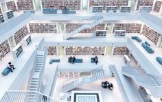 Cities, first prize The interior of the city library in Stuttgart. Natural light pours in from the windows in the ceiling, filling the spacious seat of learning. Photograph: Norbert Fritz/National Geographic Travel Photographer of the Year Stuttgart Library, Stuttgart Germany, National Geographic Travel, City Gallery, City Library, Library Design, Travel 2017, Photo Competition, Photos Voyages