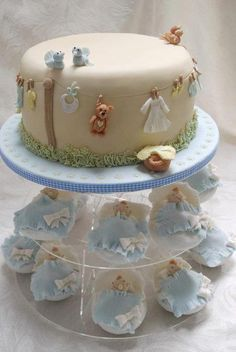 Baby Shower Cake with baby wash day washing line and matching baby basket cupcakes - Cake by Michelle Keel - CakesDecor Baby Cakes, Baby Shower Cakes, Baby Boy Shower, Gorgeous Cakes, Pretty Cakes, Cute Cakes, Amazing Cakes, Fondant Cakes, Cupcake Cakes