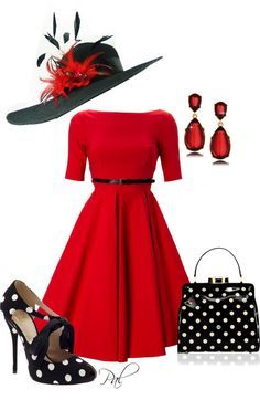 "** Kentucky Derby Style ""Polka Dots In Red"" @pamlcs"