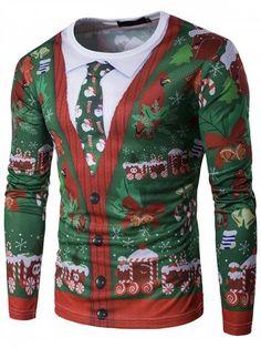 2c3fdcc934e Men s T-shirt Christmas Pattern Round Neck Long Sleeve
