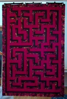3 D maze Optical Illusion Quilts, Optical Illusions, Quilting Projects, Quilting Designs, Quilting Tools, Quilting Ideas, Patch Quilt, Quilt Blocks, Labrynth Quilt Pattern