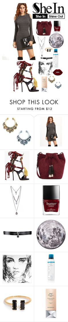 """SheIn: grey shoulderless dress"" by docmartenslovah ❤ liked on Polyvore featuring Dsquared2, Loeffler Randall, Fallon, Seletti, St. Tropez, Givenchy and Lime Crime"