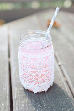 mason jar and lace