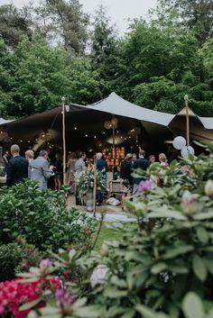 Fun stretch wedding tent reception