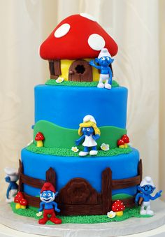 I hope you enjoy these amazing SMURF PARTY ideas. Birthday Cake Girls, Birthday Parties, Christening Themes, Kid Cupcakes, Torte Cake, Cake Central, Crazy Cakes, Party Food And Drinks, Cake Images