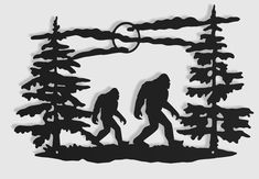 Excited to share this item from my shop: Bigfoot Walking Through Trees Indoor & Outdoor Sasquatch Metal Wall Art Metal Walls, Metal Wall Art, Mountain Cabin Decor, Mountain Homes, Corte Plasma, Wood Burning Patterns, Patina Finish, Photo Wall Art, Art Themes