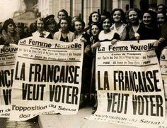 """Le 21 avril 1944, les femmes accèdent au droit de vote en France. Elles deviennent électrices et éligibles, mais attendront le 29 avril 1945, pour finalement voter. l'aboutissement d'une cause défendue par des mouvements féministes tels que """"les Suffragettes"""" pendant plusieurs années."""