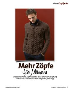 Strickanleitung Braune Herren Zopfjacke Lang Yarns Style Edition 0216