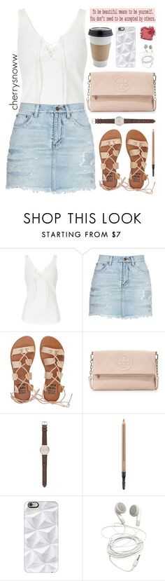 """""""Cute casual summer outfit"""" by cherrysnoww ❤ liked on Polyvore featuring Yves Saint Laurent, Billabong, Tory Burch, J.Crew, MAC Cosmetics, OUTRAGE, Casetify, KEEP ME and Bobbi Brown Cosmetics"""