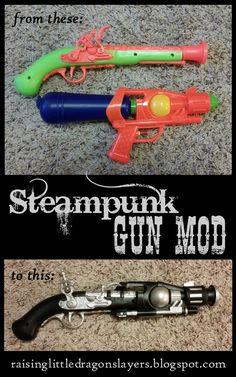 Raising Little Dragonslayers: DIY: Steampunk gun mod.