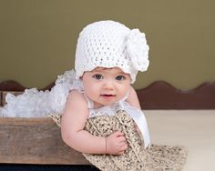 Baby Girl Hat 0 to 3 Month White Baby Hat Flapper by TSBPhotoProps