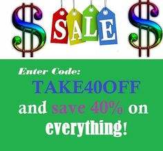 ENTER CODE at CHECKOUT to receive 40% off!  Sale Code! Jewelry Sale, Decor Sale, Etsy shop sale, Etsy shop discount, handmade items sale.
