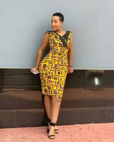 Amazing Ankara Gown Styles sown with of wrapper. I know you have some pieces of wrappers In your closet but dunno what to make out of it. Look this way. Latest Ankara Dresses, Ankara Short Gown Styles, Trendy Ankara Styles, Short Gowns, Ankara Gowns, African Print Fashion, Africa Fashion, African Fashion Dresses, African Outfits