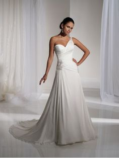 A-line Satin Lovely Draped Back Bodice one-Shoulder Sweetheart Neckline Chapel Length Train Wedding Dresses (ST11129) - Bupop.com