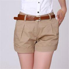 Summer Shorts Plus Size S-XXL Saias Femininas Summer Women Cotton Short  Feminino Casual Elegant Slim OL Shorts Women Work Wear 493386f32cb5e