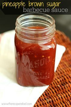 Pineapple Brown Sugar BBQ Sauce -- sweet and sour with  a bit of spice. Perfect with any meat on your grill! www.thereciperebel.com