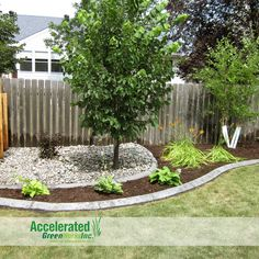 Try using your edging to create depth in the landscaping.  Alternate fill materials (shown here as an attractive dark mink mulch and contrasting light blue/gray river rock).  This adds an artistic touch to your installation.