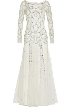 TEMPERLEY LONDON Viviana embellished tulle gown -   EXCLUSIVE TO NET-A-PORTER.COM. Temperley London's exquisite white tulle gown sparkles with Swarovski crystals, silver embroidery and sequins and tiny clear beads. This piece has an ivory crepe back panel and trims and a detachable stretch-silk slip. Perfect for special events, it would also make a beautiful bridal choice.