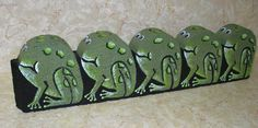 """Froggy Border"" Acrylics on cement scalloped border 24"" x 6"" x 2"" Design by Lin Wellford    July 2007"