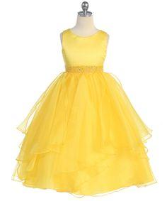 yellow layered flower girl dress