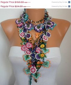Crocheted Flower Necklace Oya  with semiprecious by fatwoman, $135.00