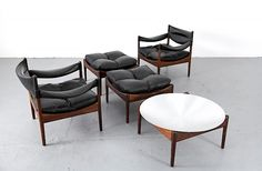 Danish Modern Rosewood and Leather Seating Group Modus with Side Table by Kristian Solmer Vedel_1