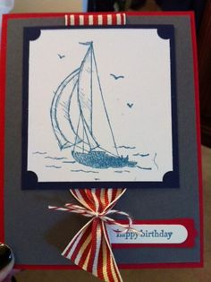 Happy Birthday Boat - Hi! my name is Julie and I am a Stampin' UP Demonstrator. All of my cards are hand made with love and available for purchase. They can also be changed to fit your needs. (Color, ribbon, assessories and occasion). Sold as singles or as a dozen of assorted. Thank you for looking and if you are interested in cards or joining our Stampin' Up team, you can reach me at Jbags58@aol.com.