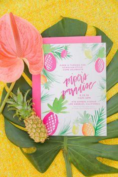 Tropical 1st birthday party invites