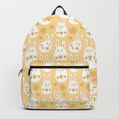 Bunny Flowers & Stars Pattern - Citrus Lemon Yellow Backpack by denidesigns Yellow Backpack, Backpacks For Sale, D Craft, Lemon Yellow, Star Patterns, One Size Fits All, Fashion Backpack, Bunny, Laptop