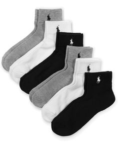 Ralph Lauren Blue Label Cotton Sport Quarter 6 Pack Socks