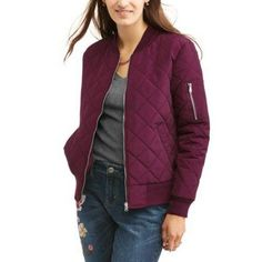 Faded Glory Women's Quilted Bomber Jacket, Size: Medium, Purple