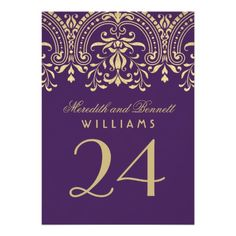 Wedding Table Number | Custom Color Vintage Glam 5x7 Paper Invitation Card