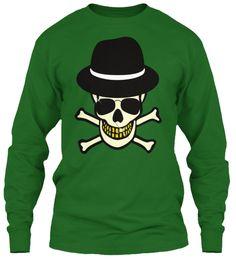 Halloween Skull Hipster T Shirt Irish Green T-Shirt Front