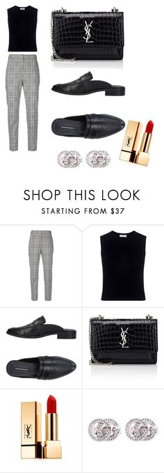 """""""Untitled #3"""" by chrissy-xenikis ❤ liked on Polyvore featuring Alexander Wang, A.L.C., Windsor Smith, Yves Saint Laurent, YSL, plaid, gucci and brogues"""