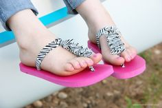 Flip-flop refashion: ruffled t-strap