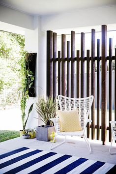 outdoor space timber wall