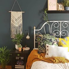 The uber-chic LEIRVIK bed frame adds a touch of glamour to any bedroom. We love how surrounds hers with mismatch textiles and gorgeous greenery. Dont forget to tag in your photos using King Platform Bed Frame, King Bed Frame, Bed Frame And Headboard, Home Bedroom, Bedroom Decor, Bedroom Ideas, Ikea Bedroom, Wall Decor, Ikea Bed Frames