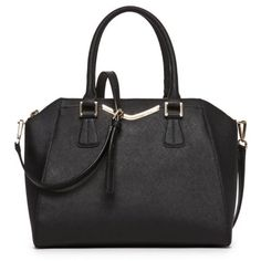 Calvin Klein Black On My Corner Saffiano Satchel ($133) ❤ liked on Polyvore featuring bags, handbags, black, satchel style purse, calvin klein, calvin klein purse, structured bag and structured purse