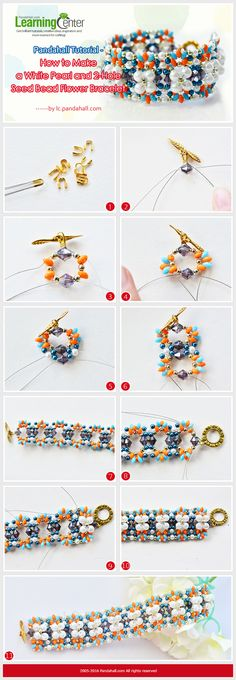 Tutorial on How to Make a White Pearl and 2-Hole Seed Bead Flower Bracelet from…