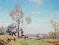 """""""Connecticut Spring,"""" Frank Alfred Bicknell, oil on masonite,  22 x 28"""", Private collection."""