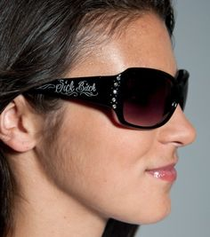 Sick Bitch women's sunglasses with Sick Bitch printed on both arms (temples) and rhinestones.