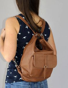fb8066dcbc3 Backpack - Bag 2in1, Leather Brown backpack, Leather backpack, Woman  backpack, Small backpack, Ladies backpack, Brown Leather Rucksack