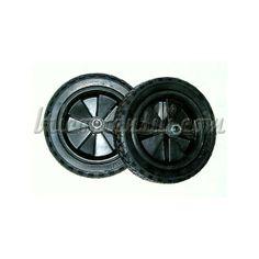 Coppia di ruote in gomma, molto robuste, per compressori da 25 e 50 litri.