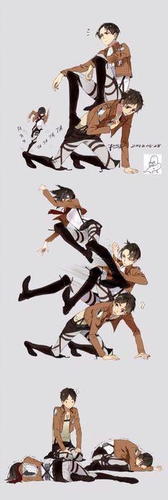 Rivaille (Levi), Eren Jaeger, Mikasa Ackerman, Ymir x Christa Renz - Attack on Titan funny Ymir, Ereri, Eren E Levi, Eren X Mikasa, Attack On Titan Meme, Attack On Titan Ships, Rin Okumura, Me Anime, Manga Anime