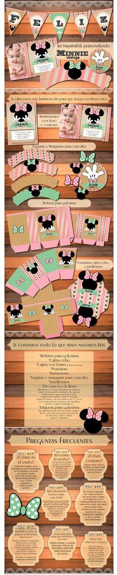 Kit Imprimible Minnie Vintage Shabby Cumpleaños Bautismos - $ 150,00