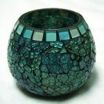 Amber Home Goods Blue Moon Glass Ball Votive, Large