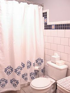 stenciled shower curtain